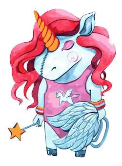 Aquarelle de personnage de licorne mignon