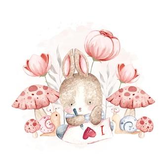 Aquarelle petit lapin avec escargot et fleurs