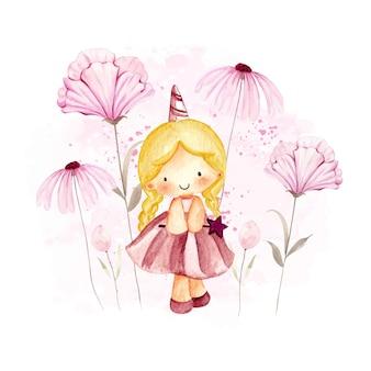 Aquarelle petite fille avec des fleurs