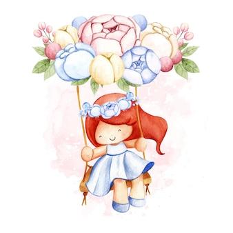 Aquarelle petite fille jouant à la balançoire