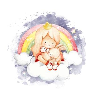 Aquarelle petite fille avec lapin sur le nuage