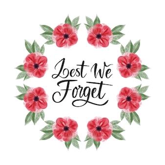 Aquarelle de peur d'oublier le message avec une fleur de pavot peinte