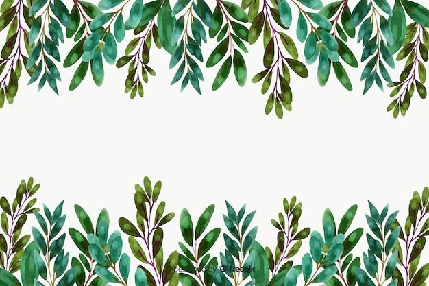 Aquarelle plantes et feuilles cadre