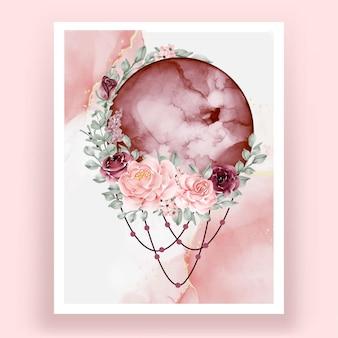 Aquarelle pleine lune bordeaux avec fleur rose