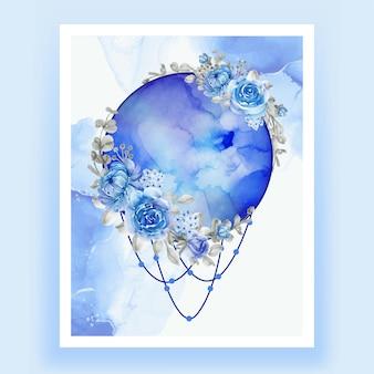 Aquarelle pleine lune fleur bleue rose