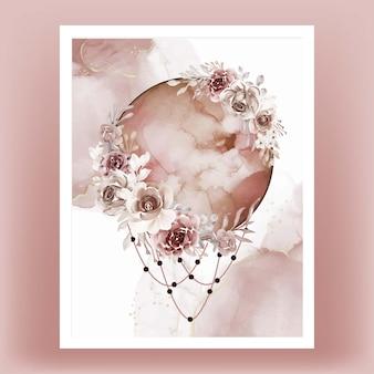 Aquarelle pleine lune marron terre cuite fleur rose