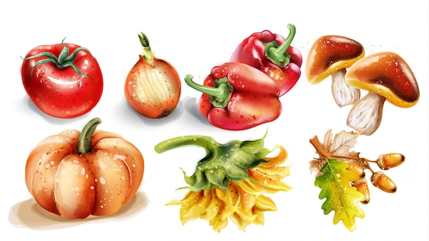 Aquarelle de potiron, champignons et légumes. jeu de récolte d'automne