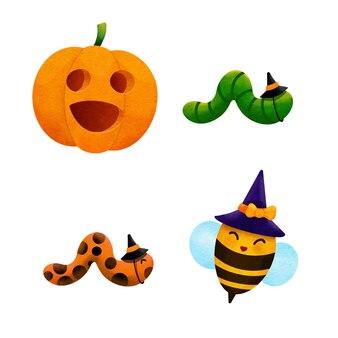 Aquarelle pour abeille dessinée à la main pour halloween .illustration vecteur.
