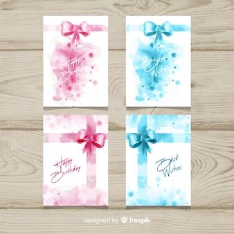 Aquarelle présente la collection de cartes d'anniversaire