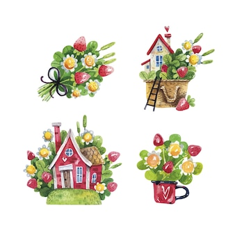 Aquarelle de printemps ensemble rustique avec des maisons, des fraises et des fleurs sur blanc