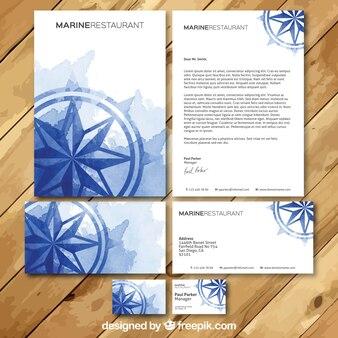 Aquarelle restaurant carte de visite set