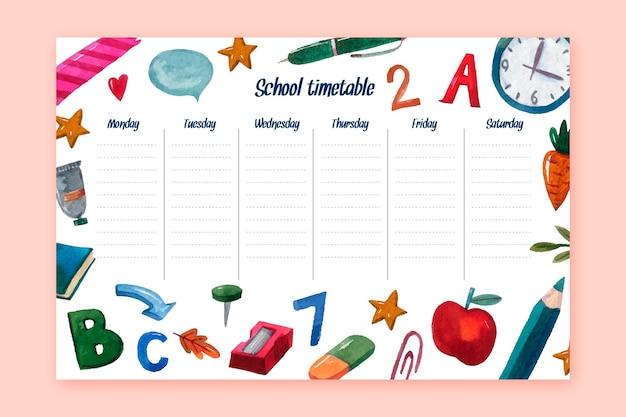 Aquarelle retour au calendrier scolaire