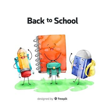 Aquarelle retour au fond de l'école