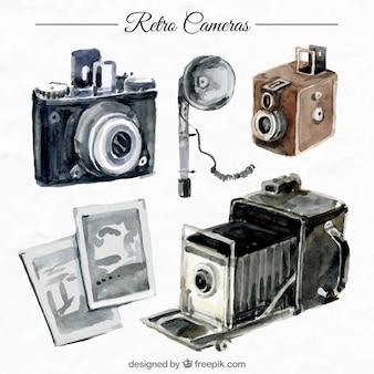 Aquarelle rétro caméras