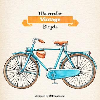 Aquarelle rétro vélo