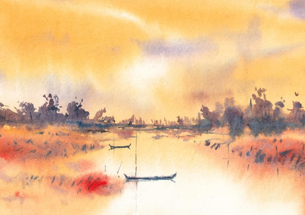 Aquarelle riverview avec bateau au crépuscule