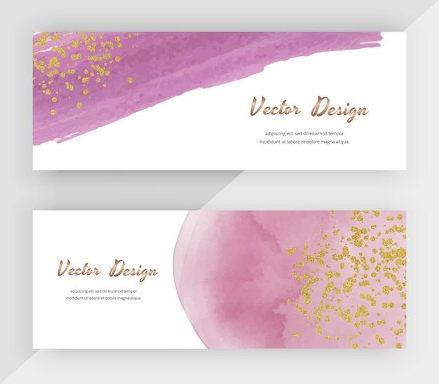 Aquarelle rose avec des bannières web horizontales de texture de paillettes d'or