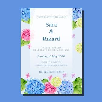 Aquarelle rose et bleu dégradé hortensia romantique cadre classique vintage modèle d'invitation de mariage