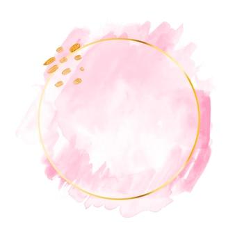 Aquarelle rose pastel avec cadre doré