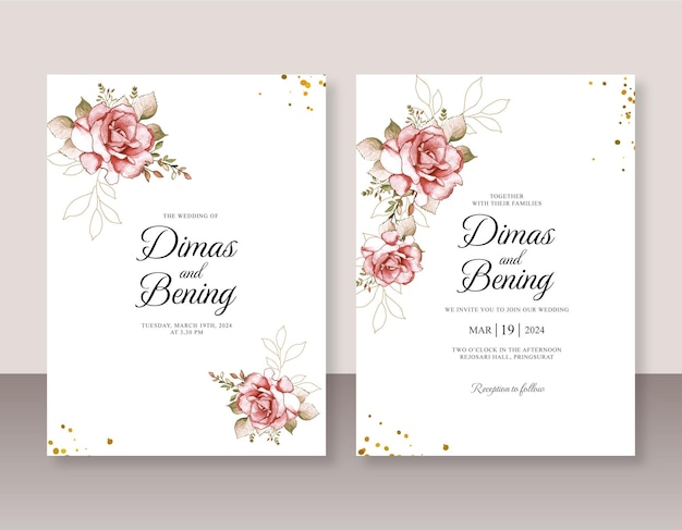 Aquarelle de rose rouge pour modèle d'invitation de mariage
