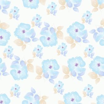 Aquarelle de rose transparente motif floral bleu