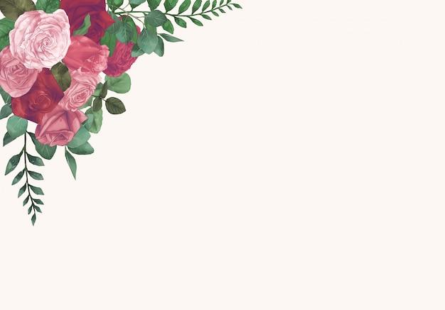 Aquarelle roses main dessiner vecteur de peinture