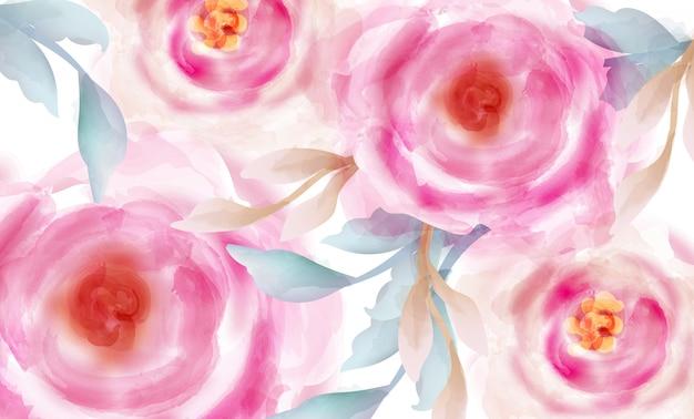 Aquarelle de roses roses avec des paillettes d'or