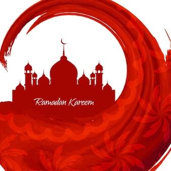 Aquarelle rouge conception de ramadan kareem