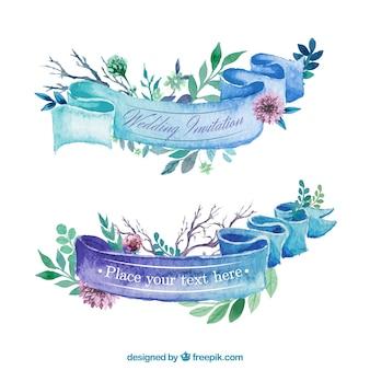 Aquarelle ruban pour invitation de mariage