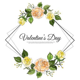 Aquarelle saint valentin cadre floral
