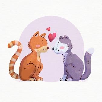 Aquarelle saint valentin chats amoureux