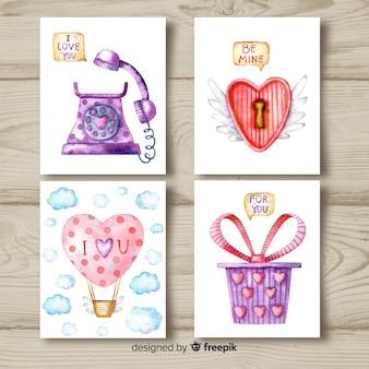 Aquarelle saint valentin collection de cartes