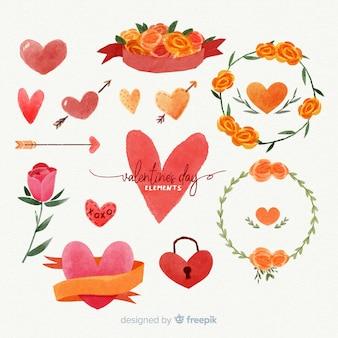 Aquarelle saint valentin pack d'éléments