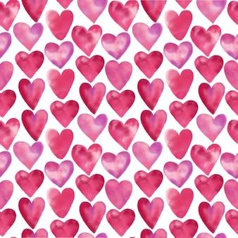 Aquarelle seamless de coeur dessiné aquarelle main design valentine day illustration