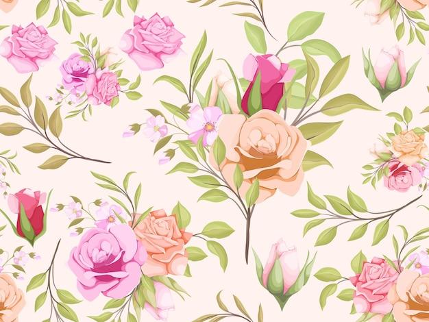 Aquarelle seamless pattern de fleurs et de feuilles