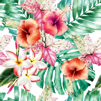 Aquarelle seamless pattern tropical.