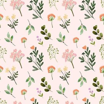 Aquarelle seamless pattern wildfloral peach printemps