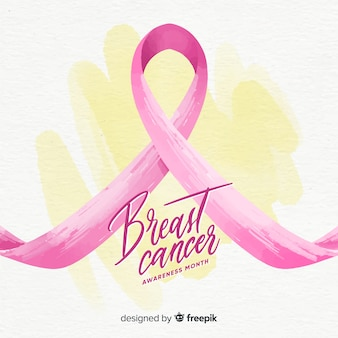 Aquarelle sensibilisation au cancer du sein avec ruban