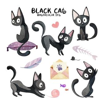 Aquarelle sertie de mignons chats noirs