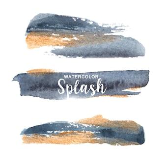 Aquarelle splash gris et jaune illustration dessinée à la main sur pour un usage décoratif.