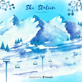 Aquarelle station de ski
