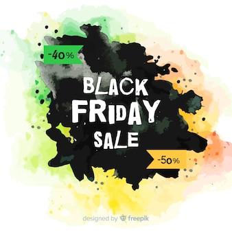 Aquarelle tache noire vendredi