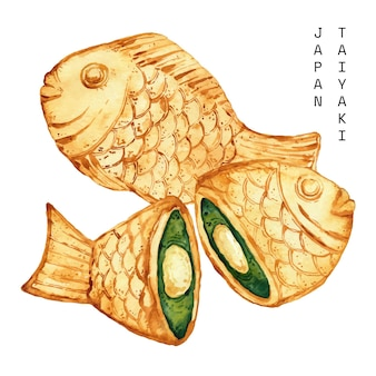 Aquarelle taiyaki en forme de poisson