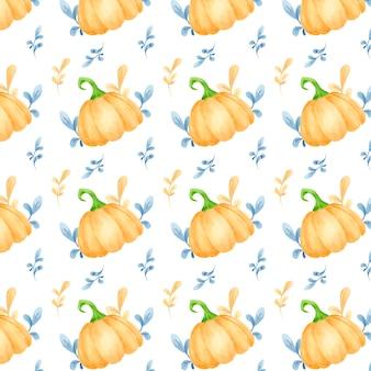 Aquarelle transparente motif de citrouilles et de feuilles d'automne