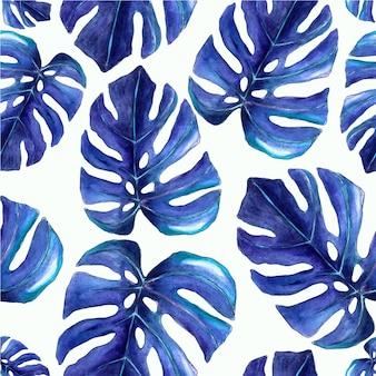 Aquarelle transparente motif de feuilles tropicales