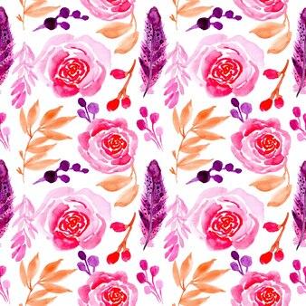 Aquarelle transparente motif fleur rose