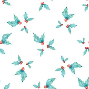Aquarelle transparente motif floral de houx de noël