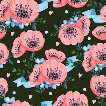Aquarelle transparente motif romantique anémone