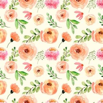 Aquarelle transparente motif roses pivoines pêche