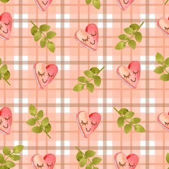 Aquarelle transparente motif tartan rose romantique